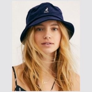 Kangol x Free People Navy Corduroy Bucket Hat NWT
